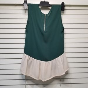 Elodie sleeveless blouse green/cream color size XS